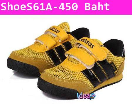 รองเท้าผ้าใบ Adidas 3 แถบ สีเหลืองดำ