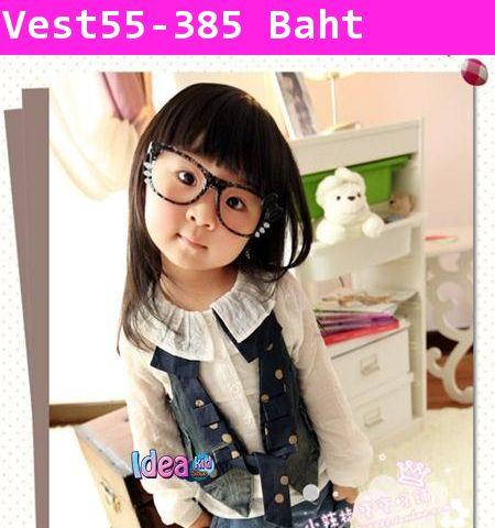 เสื้อกั๊กยีนส์สาวเนิร์ดเกาหลี