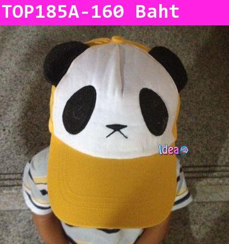 หมวกแก๊ปแพนด้าตัวน้อย สีเหลือง