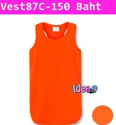 เสื้อกล้ามเดรสสีเรียบ คุณหนูไฮโซ สีส้ม