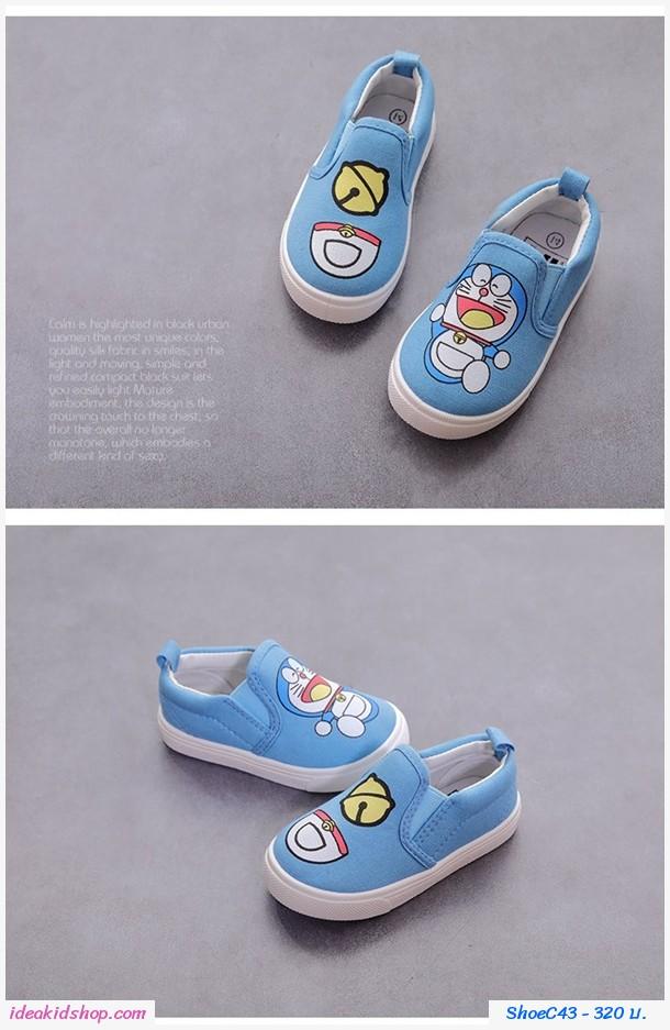 รองเท้าผ้าใบแบบสวม Doraemon สีฟ้า