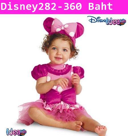 ชุดเดรสเจ้าหญิงมินนี่ โบว์ใหญ่ สีม่วงชมพู
