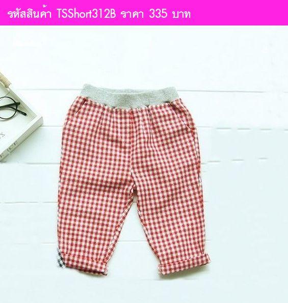 กางเกงลายสก๊อต คิมแจจุง สีแดง