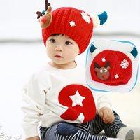 หมวกกันหนาวไหมพรม-พี่กวางเรนเดียร์-สีแดง