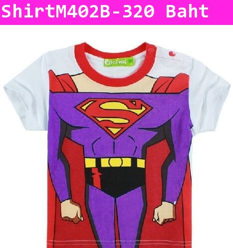 เสื้อยืด หนุ่มน้อย Costume Superman สีขาว