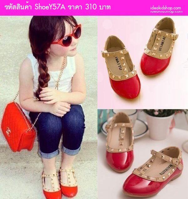รองเท้าเด็ก สไตล์ Valentino Kid V.2 สีแดง