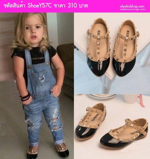 รองเท้าเด็ก สไตล์ Valentino kid V.2 สีดำ