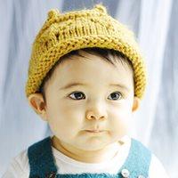 หมวกไหมพรมแฟชั่น-ลายมงกุฎ-สีเหลืองคัสตาร์ด