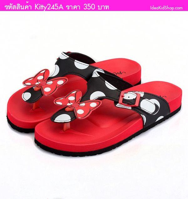 รองเท้าแตะแบบหนีบสไตล์ Minnie Mouse สีแดง(ผู้ใหญ่)
