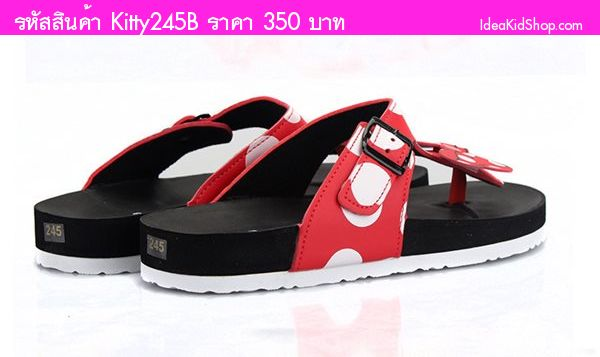 รองเท้าแตะแบบหนีบสไตล์ Minnie Mouse สีดำ(ผู้ใหญ่)