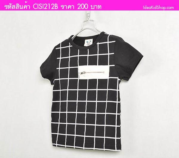 เสื้อยืดหนุ่มน้อย Square Man สีดำ