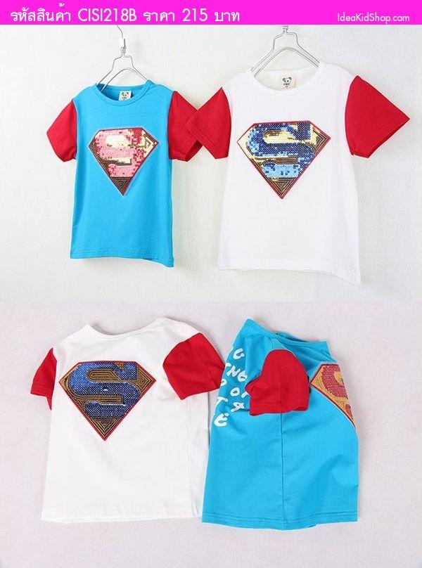 เสื้อยืด งานปักเลื่อม Superman สีขาว