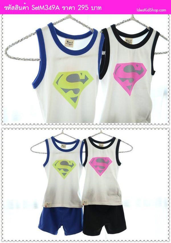 เสื้อกล้ามและกางเกง Superman สีน้ำเงิน