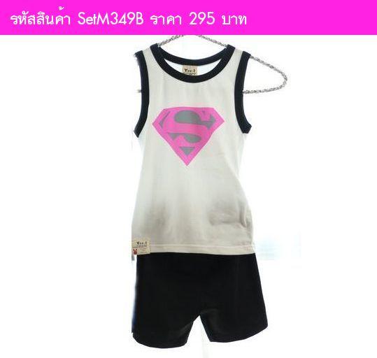 เสื้อกล้ามและกางเกง Superman สีดำ