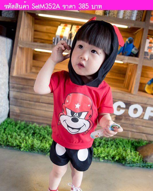 เสื้อยืดและกางเกง Biker Mickey สีแดง