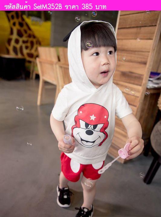 เสื้อยืดและกางเกง Biker Mickey สีขาว