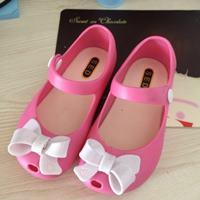 รองเท้าเด็ก-ติดโบว์-สไตล์-Mini-Melissa-สีชมพูเข้ม