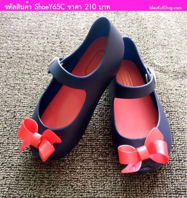 รองเท้าเด็ก ติดโบว์ สไตล์ Mini Melissa สีกรม