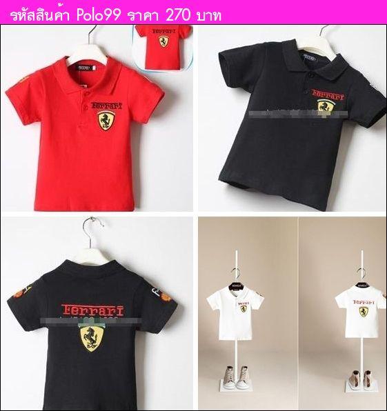 เสื้อโปโล สไตล์ Ferrari สีดำ