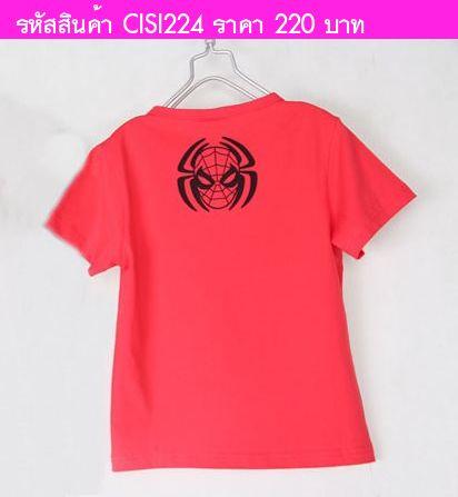 เสื้อยืด Spiderman Silver สีแดง