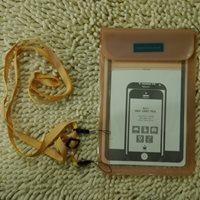 ซองซิปพลาสติกกันน้ำใส่มือถือ-Tablet-(ใหญ่)-สีส้ม