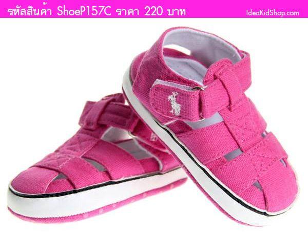 รองเท้าหัดเดินรัดส้น สไตล์ Ralph Lauren สีชมพู