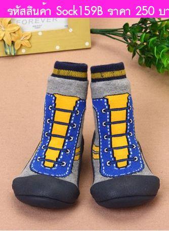 รองเท้าถุงเท้า ลายผ้าใบผูกเชือก สีน้ำเงิน