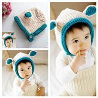 หมวกไหมพรม-หมีน้อย-สีครีมฟ้า