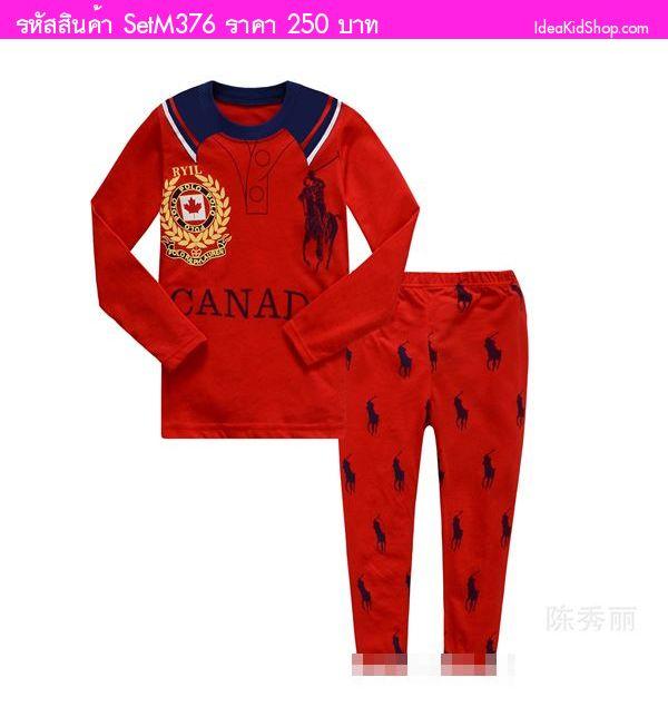 ชุดเสื้อกางเกง Polo สีแดง