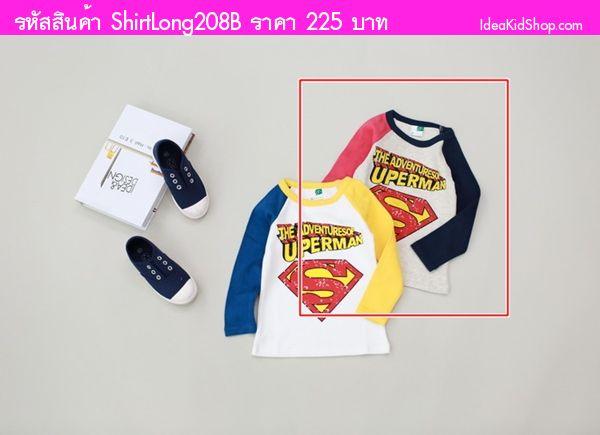 เสื้อแขนยาวแฟนซี Superman สีเทา