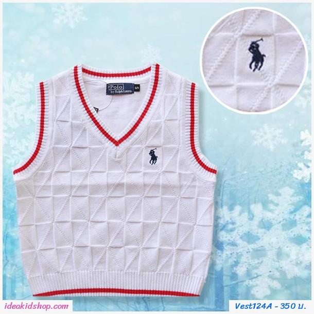 เสื้อสเวตเตอร์ Polo คอวี สีขาว