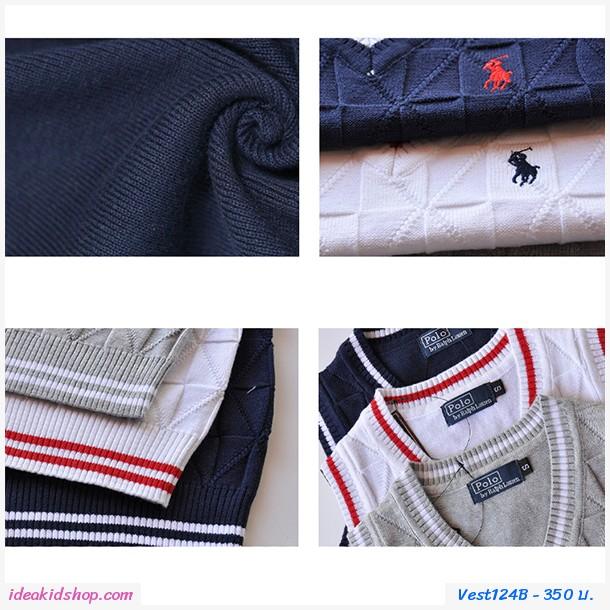 เสื้อสเวตเตอร์ Polo คอวี สีเทา