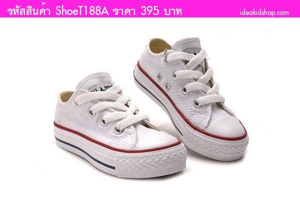 รองเท้าผ้าใบหุ้มส้น Converse สไตล์ชมพู่ สีขาว
