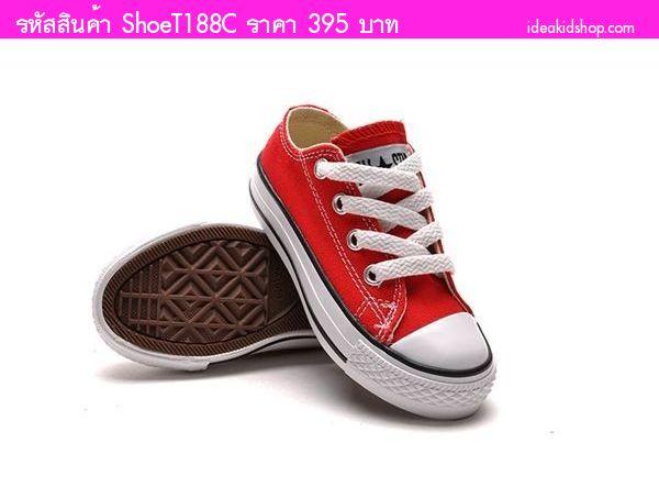 รองเท้าผ้าใบหุ้มส้น Converse สไตล์ชมพู่ สีแดง