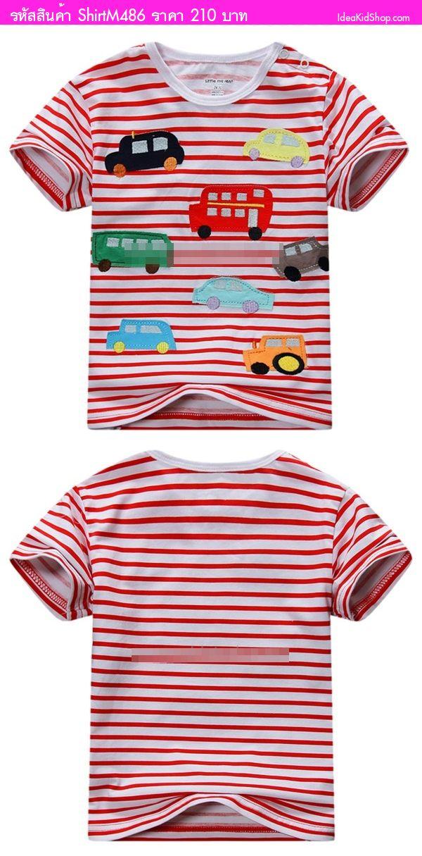เสื้อยืด Car Lover ลายทาง ขาวแดง