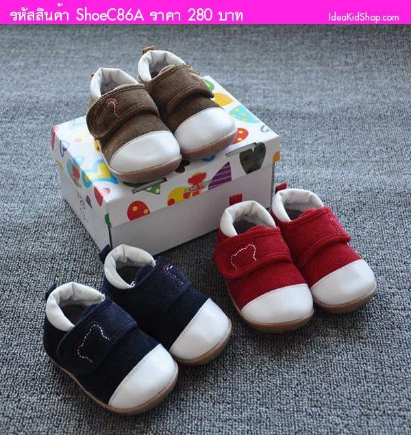 รองเท้าผ้าใบ ลายหมีน้อยน่ารัก สีน้ำตาล