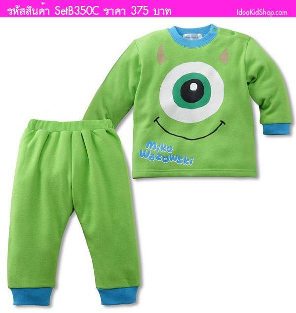 ชุดเสื้อกางเกง Monster ยิ้มแฉ่ง สีเขียว