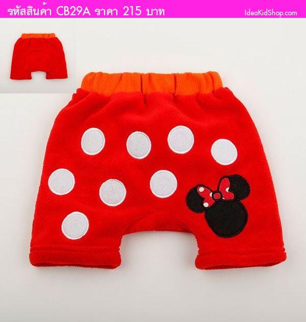 กางเกงขาสั้นผ้าขนหนู Minnie Mouse ลายจุด สีแดง