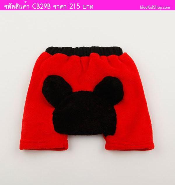 กางเกงขาสั้นผ้าขนหนู Mickey Mouse หูตั้ง สีแดง