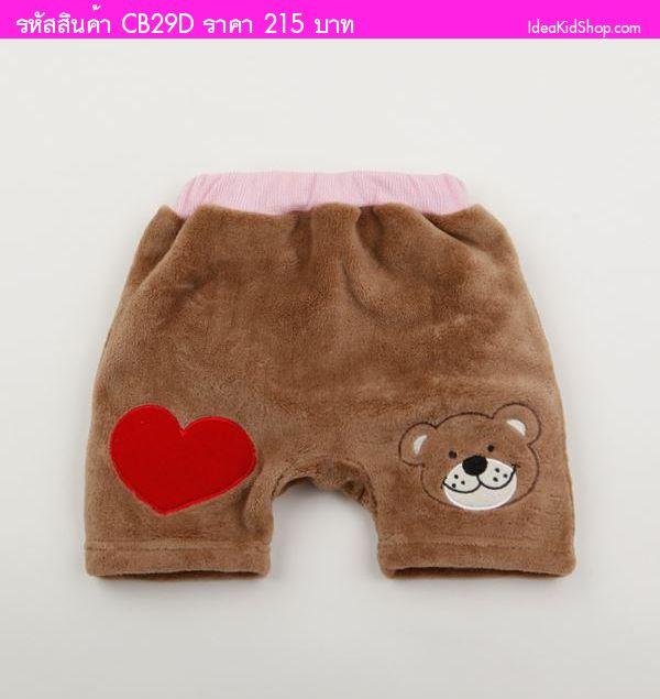 กางเกงขาสั้นผ้าขนหนู Bear สีน้ำตาล