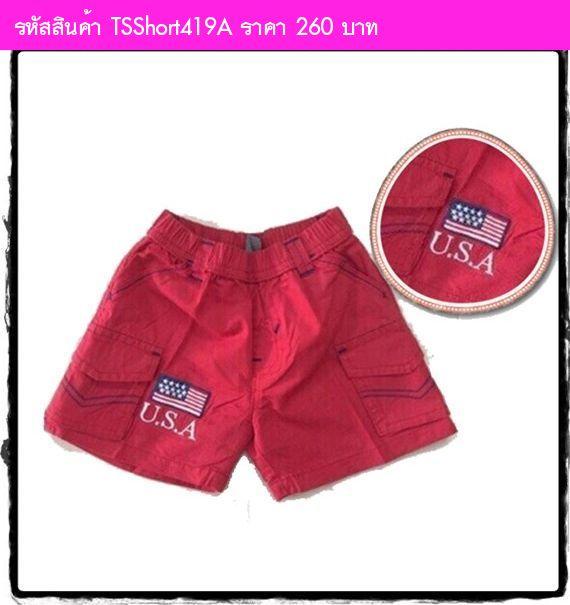 กางเกงขาสั้น ธงชาติ USA สีแดง