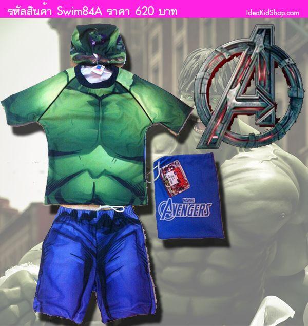 ชุดว่ายน้ำเสื้อกางเกง HULK HERO สีเขียว