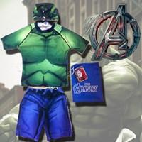 ชุดว่ายน้ำเสื้อกางเกง-HULK-HERO-สีเขียว