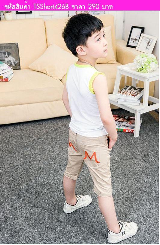 กางเกงขาสั้นหนุ่มน้อย ตัว M สีน้ำตาลครีม