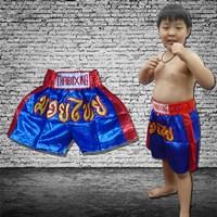 กางเกงมวยไทยเด็ก-รุ่นคลาสสิค-มุมน้ำเงิน