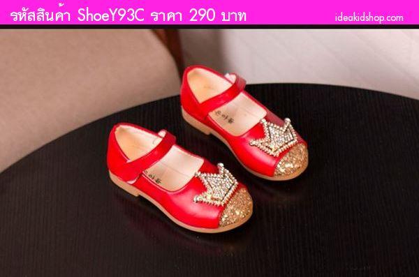 รองเท้าหุ้มส้น มงกุฎติดเพชร สีแดง