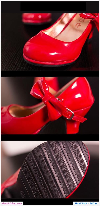รองเท้าส้นสูง RETRO ติดโบว์ สีแดง