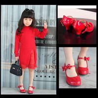 รองเท้าส้นสูง-RETRO-ติดโบว์-สีแดง
