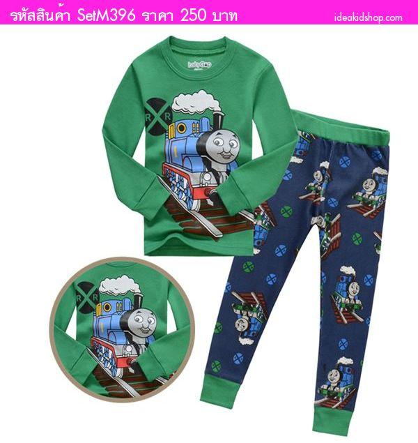 ชุดเสื้อกางเกง MR.Thomas สีเขียวน้ำเงิน