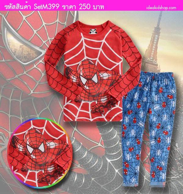 ชุดเสื้อกางเกง ยอดมนุษย์ Spiderman สีแดงฟ้า